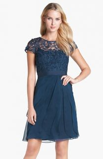Adrianna Papell Lace & Tiered Chiffon Dress (Regular & Petite)