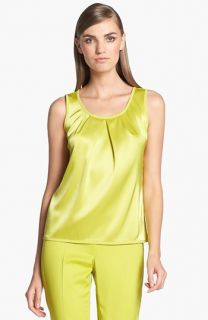 St. John Collection Scoop Neck Pleated Liquid Satin Shell