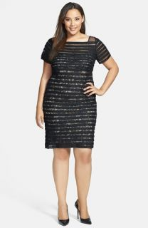 Adrianna Papell Banded Illusion Sheath Dress (Plus Size)