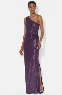 Lauren Ralph Lauren Mesh Overlay Sequin One Shoulder Gown