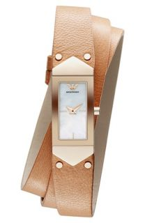 Emporio Armani Triple Wrap Leather Strap Watch, 15mm x 39mm