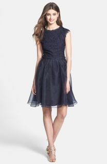 Ted Baker London Fit & Flare Lace & Taffeta Dress