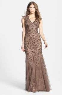 Aidan Mattox Beaded Cap Sleeve Gown