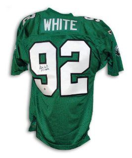 "Reggie White Philadelphia Eagles Autographed Green Authentic Wilson Jersey Inscribed ""198 Sacks"" Sports Collectibles"