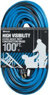 Woods 2444 12/3 SJTW High Visibility Outdoor Extension Cord, Blue/Black, 100 Feet