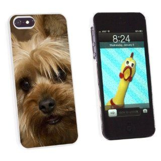 Yorkshire Terrier Yorkie Dog   Snap On Hard Protective Case for Apple iPhone 5 5S   White Cell Phones & Accessories