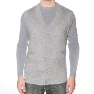 Maglierie Di Perugia MDP IU 206 GG Grey Button Down V neck Cashmere/Silk Sweater