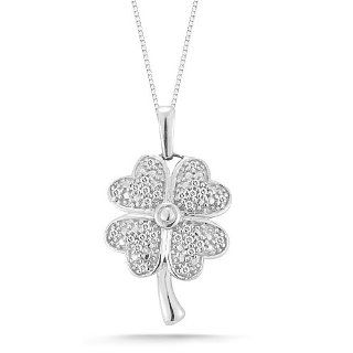 "10k White Gold Diamond Four Leaf Clover Pendant Necklace (1/10 Cttw I J Color, I2 I3 Clarity), 18"" Jewelry"