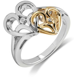 10K Gold/Silver Two Tone Diamond Accent Heart Ring Diamond Rings