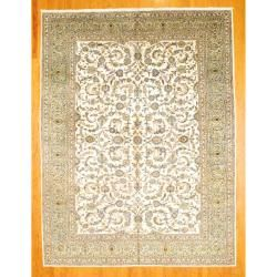 Persian Hand knotted Kashan Ivory/ Light Blue Wool Rug (9'10 x 12'11) 7x9   10x14 Rugs