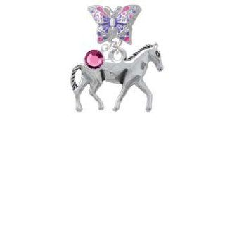 Silver Walking Horse Butterfly Charm Bead Dangle with Crystal Drop Delight & Co. Jewelry