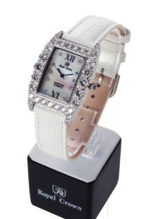 Wrist Watch Quartz Genuine Leather Strap Dial Diamond Italian Style White Color No.234