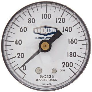 "Dixon Valve GC235 ABS Standard Dry Gauge, 1/4"" Center Back Mount, 2"" Face, 0 200 PSI, 20 Figure Interval, 5 Minor Gradient Camlock Hose Fittings"