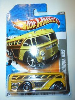 "Hot Wheels 2011 '' SURFIN' SCHOOL BUS"" HW VIDEO GAME HEROES '11   10 of 22   232/244 Yellow Bus with 'Hot Wheels Surf Tours"" decal on side Toys & Games"