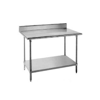 "Advance Tabco KSLAG 245 Stainless Steel 60"" x 24"" Work Table with Undershelf and Backsplash"