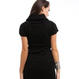 247 Frenzy Cowl Neck Short Sleeve Sweater Dress   Black (Large) Clothing