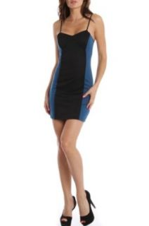 247 Frenzy Spaghetti Strap Color Block Dress   Teal Black (Medium)