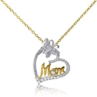 "14 Karat Yellow Gold over Sterling Silver Two Tone Effect Diamond Mom Pendant with 18"" Chain Jewelry"