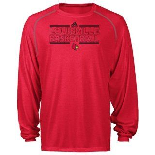 Louisville Cardinals Red Bleed Out On Court Practice Climalite Long Sleeve T Shirt Sports & Outdoors