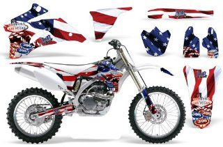 Sin and Stripes AMRRACING MX Graphics decal kit fits Yamaha YZ250F YZ450F (2006 2009) Red White Blue Automotive