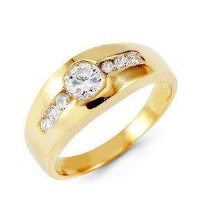 Mens Solid 14k Yellow Gold Round CZ Fashion Band Ring Jewelry