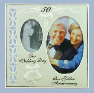 50th Wedding Anniversary Gift   Golden Double Then and Now Frame