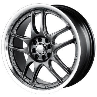 17x7 Sacchi S55 (255) (Hyper Black w/ Machined Lip) Wheels/Rims 4x100/114.3 (255 7701HB) Automotive
