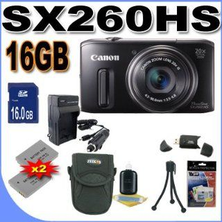 Canon PowerShot SX260HS SX260 HS 12.1 MP CMOS Digital Camera with 20x Image Stabilized Zoom 25mm Wide Angle Optical Lens and 1080p HD Video (Black) Premium Bundle 16 GB Memory Card, Two NB6L Battery, Battery Charger, Card Reader, Carrying Case, Mini Tripod