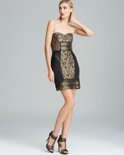 Nicole Miller Strapless Metallic Lace Dress's