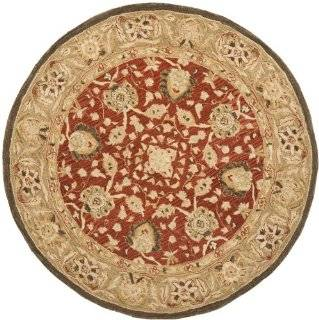 Safavieh Anatolia Collection Handmade Hand Spun Wool Round Area Rug, 6 Feet, Rust/Green