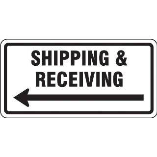 "Accuform Signs FRR268RA Engineer Grade Reflective Aluminum Facility Traffic Sign, Legend ""SHIPPING & RECEIVING"" with Left Arrow, 24"" Width x 12"" Length x 0.080"" Thickness, Black on White"
