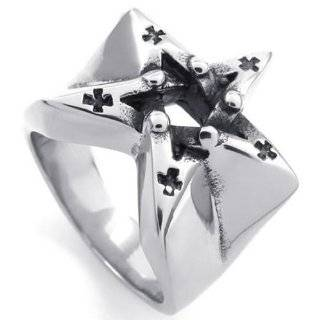 KONOV Jewelry Vintage Stainless Steel Alchemy Gothic Pentagram Biker Men's Ring , Silver KONOV Jewelry Jewelry