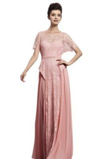Little Smily Women's Lace Scoop Neck Long Evening Dress with Cap Sleeve, Pink, XS