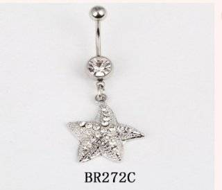 3 X Wholesale Lot 316L Surgical Stainless Steel 14g STARFISH Crystal Rhinestone Gem Bar Navel Belly Ring Body Jewelry BR272C Jewelry