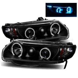Honda Civic Coupe Black CCFL Halo Projector Headlights /w Amber Automotive