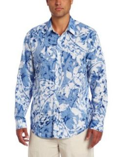 Cubavera Men's Long Sleeve Printed Shirt with Contrast Detailing, Blue, Small Clothing