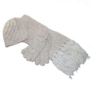 Chunky Cable Knit 3 Piece Winter Set for Women   Hat, Scarf, Gloves (White)