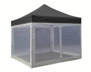 Eurmax Standard 10x10 Ez Pop up Canopy with Four (4) Screen Walls and Wheeled Bag Bonus Awning (Black) Sports & Outdoors