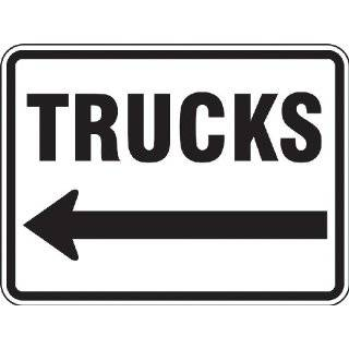 "Accuform Signs FRR281RA Engineer Grade Reflective Aluminum Facility Traffic Sign, Legend ""TRUCKS"" with Left Arrow, 24"" Width x 18"" Length x 0.080"" Thickness, Black on White"