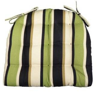 Small Patio Chair Cushion   Lindy Green Cabana Stripe   Indoor / Outdoor, Mildew Resistant, Fade Resistant   Reversible, Tufted, Box Edge, U Shaped, Latex Foam Fill   Outdoor Dining Set Chair Pad with Ties   Patio Furniture Cushions