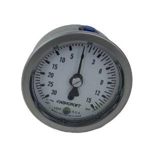 Ashcroft Type 1008 Stainless Steel Case Pressure Gauge, Stainless Steel Tube and Socket, 100mm Dial Size
