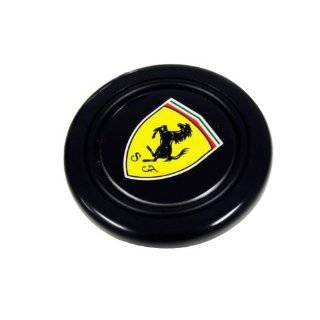 Ferrari Steering Wheel Horn Button with Black Horse on Yellow Shield Crest Logo Hood Badge and Black Background for 512 308 458 599 328 GTS GTO GTB M Dino 612 F430 360 550 355 F1 Spyder Mondial TS Modena F1 Scuderia Spider Challenge Testarossa Automotive