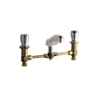 "Chicago Faucets 404 665 12CCCP Chrome Manual Deck Mounted Wheel Chair Connection 12"" Centerset Metering Faucet with 5"" Cast Brass Spout and Push Button Handles 404 665 12CC"