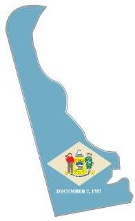 "Delaware state map flag sticker decal 3"" x 5"""