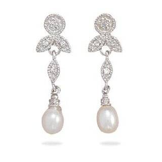 Rhodium Plated Sterling Silver CZ/White Cultured Freshwater Pearl Earrings West Coast Jewelry Jewelry