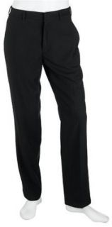 DKNY Men's Flat Front Dress Pants, Black, 38 Clothing