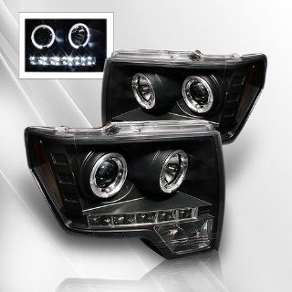 Ford F150 09 10 LED Projector Headlights /w Halo/Angle Eyes ~ pair set (Black) Automotive