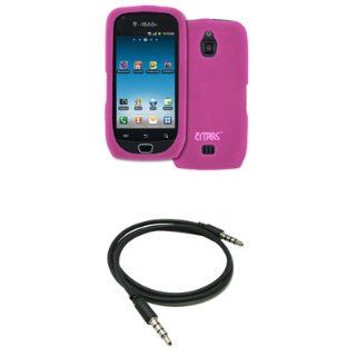 "EMPIRE Hot Pink Silicone Skin Case Cover + 3.5mm Male to Male 20"" 36"" Stereo Auxiliary Cable for T Mobile Samsung Exhibit 4G Cell Phones & Accessories"