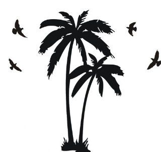 DIY Large Hawaiian Palm Coconut Tree with Seagull Birds Familly Nursery Tree Wall Decals Tree Sticker Room Decor   Childrens Wall Decor
