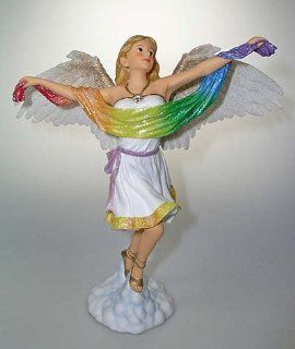 December Diamonds Gaia Angel Of Gay Pride Table Top Figure Statue. Discontinued, Limited Edition, & Handpainted Holding a Rainbow Flag.   Collectible Figurines